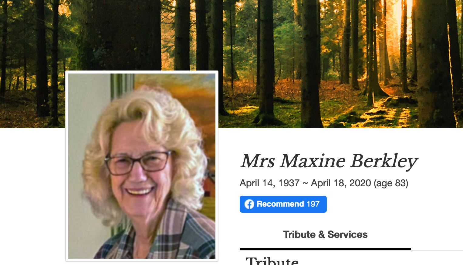 In Memory of Mrs. Maxine Berkly